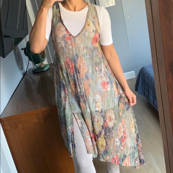 Zara Dresses & Skirts - ZARA metallic floral sheer dress